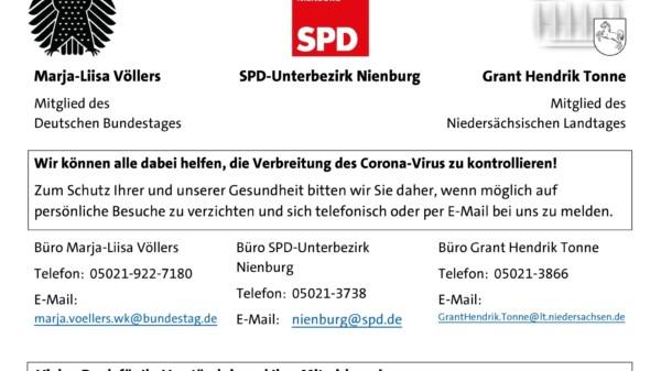 Zu Ihrer und unserer Sicherheit: Eingeschränkter Publikumsverkehr in Nienburg