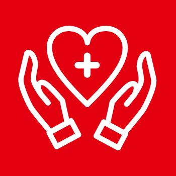 Symbolbild Gesundheit und Soziales: Zwei Hände umschließen ein Herz mit einem Plus-Zeichen darin