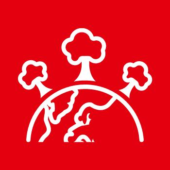 Symbolbild Klima und Umwelt: Drei Bäume stehen auf einer Erdhalbkugel