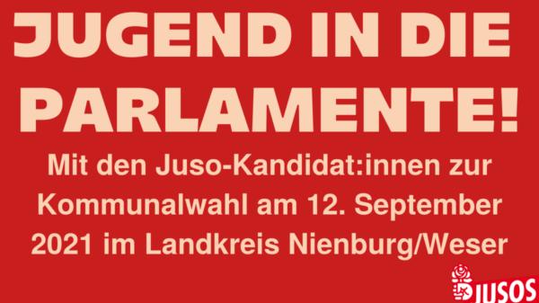 Website-Teaser der Jusos Nienburg für die Kandidat:innenpräsentation der Kommunalparlamente